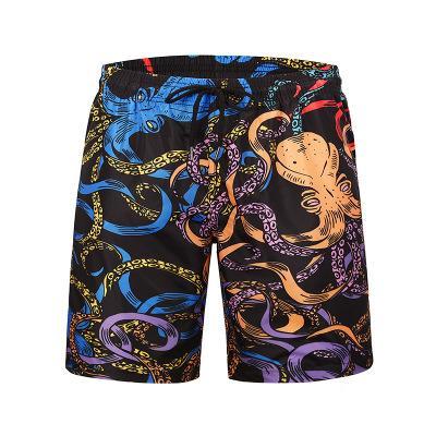 KLV Natation été sexy short de plage Grande Taille Pantalon De Plage Hommes Loisirs Mode Pantalon Taille Plage Creative Poulpe Imprimé