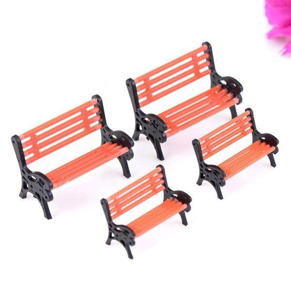 accessories 2pcs/Set Chair Bench Miniatures Fairy Garden Ornaments Figurines Toys DIY Dollhouse Home Decor