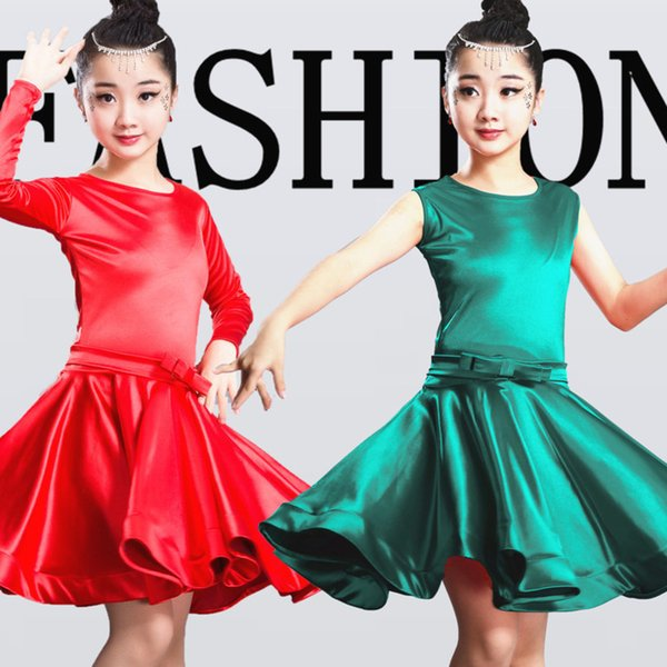 2019 niñas vestidos latinos para bailar vestido de baile de salón rumba samba spandex niños samba cha cha falda de tango salsa estándar