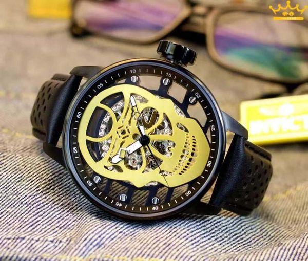 19E INVICTA reloj para hombre mecánico totalmente automático n. ° 89: s reloj con calavera boutique de cuero correa de cuero marca de regalo de personalidad de marca exquisita