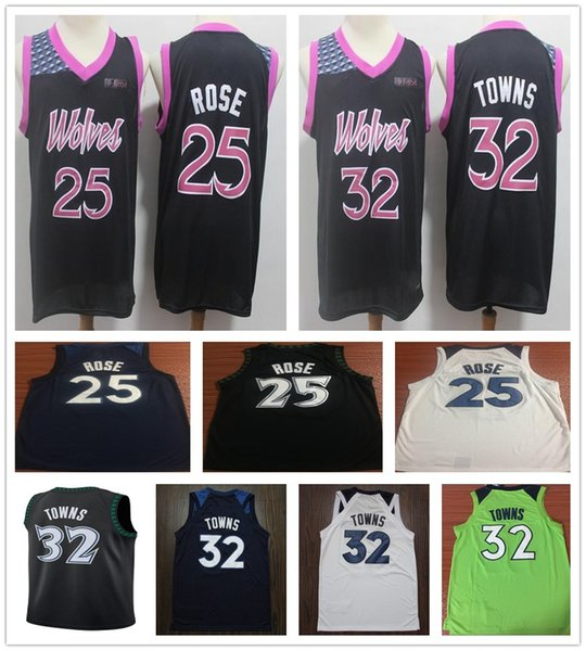 best website 4c2d4 e84ea 2018 2019 New Purple 25 Derrick Rose Jerseys Shirts The City Edition  Stitched 32 Karl Anthony Towns Jersey Black Blue White 22 Andrew Wiggins  From ...