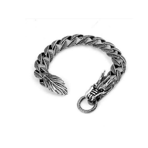 Jade Angel Thai Vintage Sterling Silver Dragon Bracelet Men's Jewelry Fine Bracelet Design Jewelry Brand Free shipping
