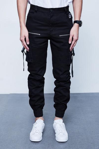 Мужчины Multi-карман эластичный дизайн талии Гарем-стрит панк хип-хоп случайные брюки бегунов брюки мужские танцы C190416