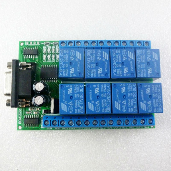 Freeshipping DC 12V 8 Channel RS232 Relay Board PC USB UART DB9 Remote Control Switch for PLC Smart Home Garage door Car alarm Farm Motor
