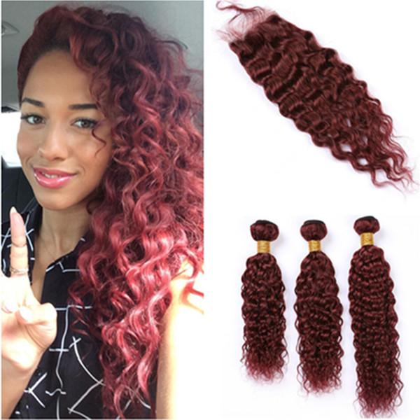 # 99J Burgundy Red Влажная и Волнистые человеческих волос шнурка Закрытие 4x4 с 3Bundles Wine Red перуанских Water Wave Virgin Наращивание волос с закрытием
