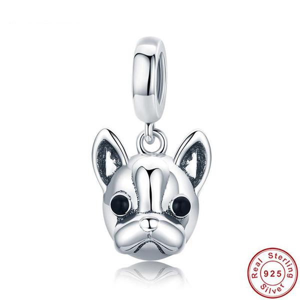 Pandora Style Trendy 925 Sterling Silver Cute Loyal Dog Beads fit Trendy Bracelet Bulldog Head Charm Lovely Animal Jewelry Making