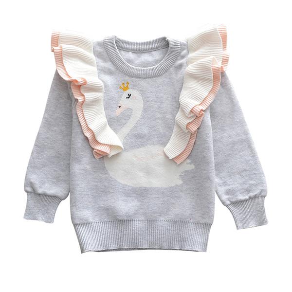 2018 neue Baby Mädchen kleine Swan Sweat Herbst Winter Kleinkind Warme Langarm Pullover Tops Bluse Kleidung