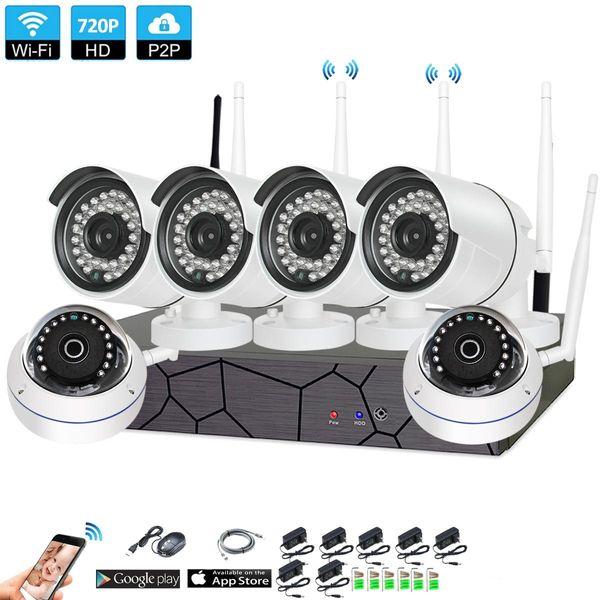 Casa 6CH Sem Fio Sistema de Segurança CCTV 6 PCS 720 P NVR 1.0MP IR Ao Ar Livre P2P Wi-fi IP À Prova de Intempéries Sistema de Câmera de Vigilância Kit