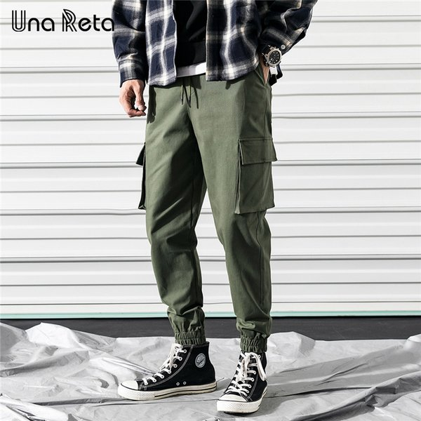 Una Mens Pants 2019 New Fashion Casual Solid Color Joggers Trousers Men Streetwear Pocket Design Pants Men Sweatpant C19041601