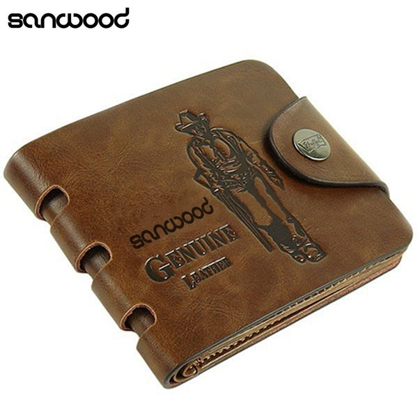 10pcs 2016 Men's Genuine Leather Wallet Pockets Card Clutch Cente Bifold Purse Money Clip Cad Holder C19041201