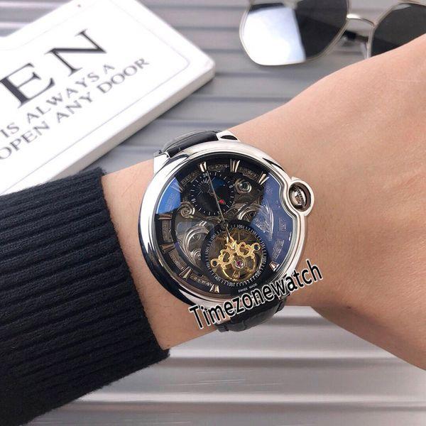 New 42mm Steel Case Black Skeleton Dial Automatic Tourbillon Mens Watch Black Leather Strap Sapphire Glass Watches Cheap Timezonewatch E51b2