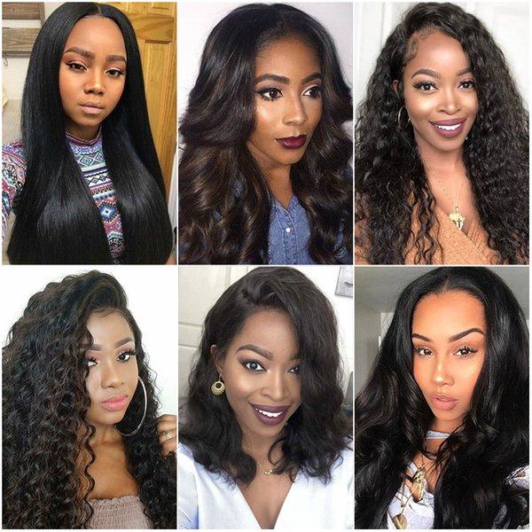 Onda profunda rendas frente perucas e laço de cabelo humano Perucas Pré arrancado da Mulher Negra Direto da onda do corpo Kinky Curly Virgin Cabelo brasileiro