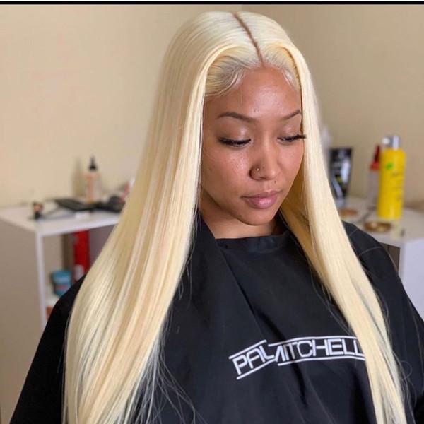 Glueless pleine dentelle perruques de cheveux humains pour les femmes noires 9A droit brésilien 613 Blonde Lace Front Wigs avec des cheveux de bébé autour