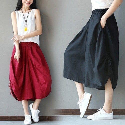 Women's Cotton Long Pants Plus Size Loose Casual Vintage Baggy Trousers Palazzo
