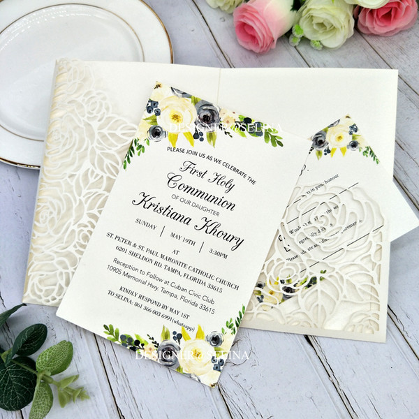 Ivory Palm Wedding Invitation With Rsvp Card Diy Floral Laser Cut Wedding Invites Invitations For Bridal Shower Party Greeting Cards Wedding
