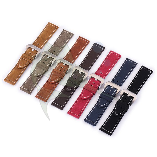 High Quality Handmade Cow Leather Watch Strap,Bubuck Leather Surface White Stitch 18mm~24mm Flat Watchband Strap