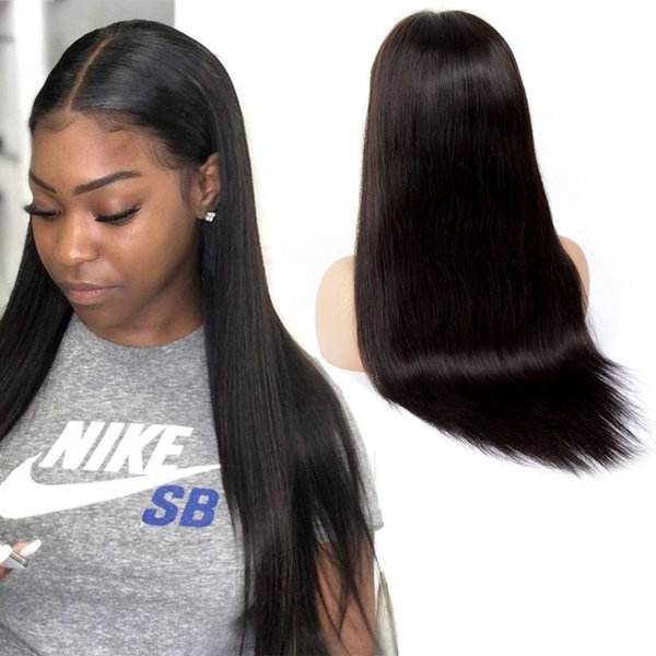 Droite 13 * 6 avant de lacet perruques brésilienne Remy perruques de cheveux humains avec des cheveux de bébé pour les femmes noires Deep Part Lace frontale perruques