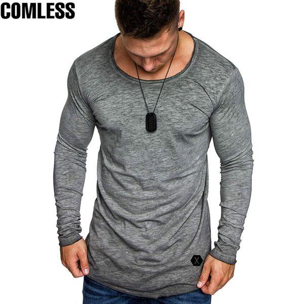 Yaz 2019 Yeni Erkekler Moda Rahat Ince Elastik Yumuşak Katı Uzun Kollu Erkek T Shirt Erkek Fit Üstleri Tee T-shirt Streetwear tshirt