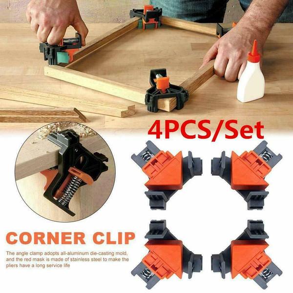 4PCS / Set 90 ° Sağ Açı Klip Kelepçe Köşe Tutucu Ağaç DIY El Aletleri