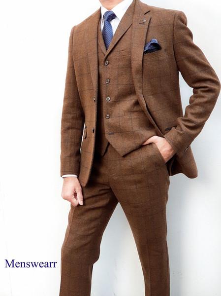 Cavani Kempson Brown Tweed Three Piece Suit - 1920s Peaky Blinders Style Suit Custom Made
