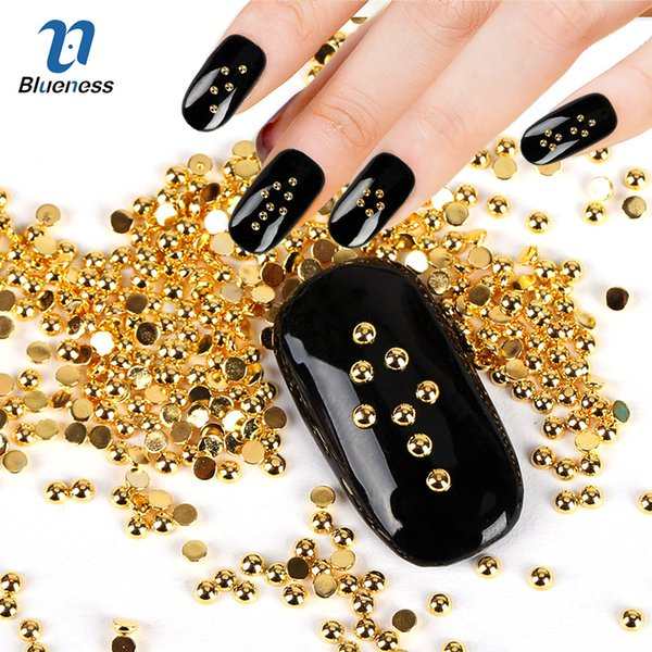 Hadas ail Rhinestones del arte se ponen azules Decoración Ronda diseño de los puntos de cobre 3D Nail Art Supplies Oro Plata 2 colores perlas Glitter Espárragos De ...
