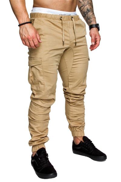 New Mens Cargo Pants Loose Solid Color Elastic Band Multi Colors Size M-4XL Trousers Casual Pocket Drawstring Belt Men Pants Cross-Pants