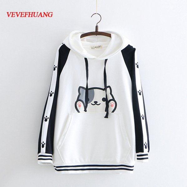 Spring Autumn Women New Cute Cartoon Cat Claw Print Sweatshirts Female Student Loose Casual Hoodies Girls Hooded Pullovers