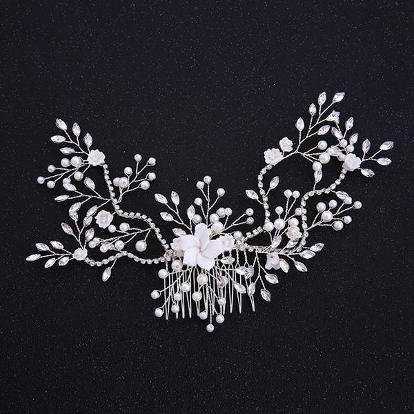 SLBRIDAL Aleación de plata con cable Rhinestone Cristal Perlas Flor de la boda Peine del pelo Nupcial tocados Accesorios para el cabello Joyería de las mujeres