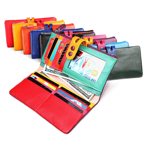 Brand Wallet Women Genuine leather Purses High Quality Designer Zipper Long Wallet Ladies color casual Female
