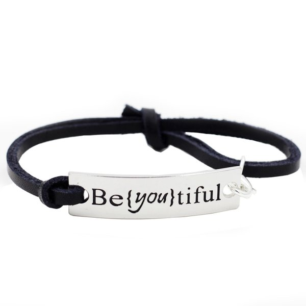 Fashion Silver Plated Ornaments Motivational Inspirational Words Message Black Buddhist Strand Emoji Charms Bracelet