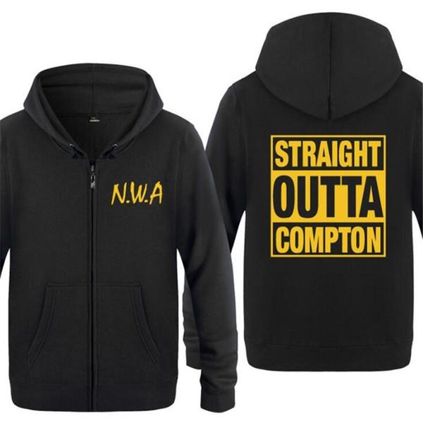 Hoodie Mens rock NWA Straight Outta Compton Sweats à capuche Homme Hip Hop Toison manches longues Fermeture à glissière manteau de veste Sweat-shirt Skate Survêtement