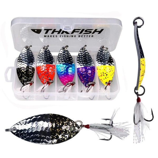 Wholesale lake lure for sale - Group buy Cheap Lures box Metal Spinner Fishing Lure Hard Baits g oz Lake Trout Sequins Spoon with Feather Fishing Tackle Spoon Baits