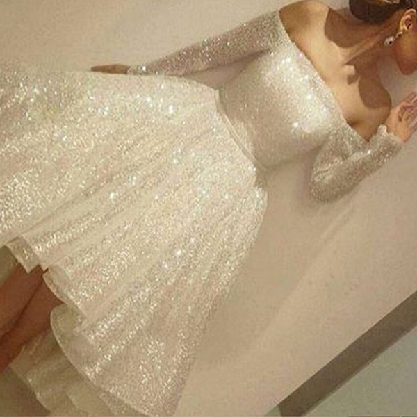 White Prom Dresses Sparkly Sequins Bling Bling Sparkly Off the Shoulder High Front and Low Back Evening Dresses Long Sleeve Party Dresses