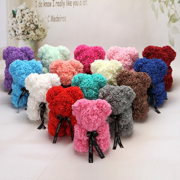 25cm Artificial Bear of Roses Multicolor Foam Rose Teddy Bear Girlfriend Valentines Day Gift Birthday Party Decoration