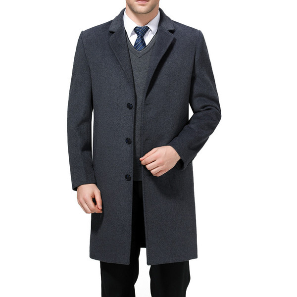 2019 Full Winter For Male Wool Long Overcoat Cashmere X-Long Jackets Casual Mens Wool Blend Suit Collar Coats 3XL 4XL