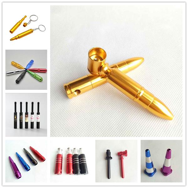 Medium Bullet Aluminum Metal Smoking Pipe Shisha Tobacco Cigarette Hand Spoon Screw torpedo Bottle Keychain Rig Pipe 8 Styles