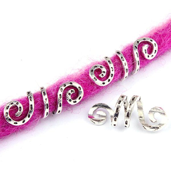 5 pz metallo argento vichingo spirale capelli treccia dreadlock dreadlock perline anelli tubo clip per accessori per capelli charms