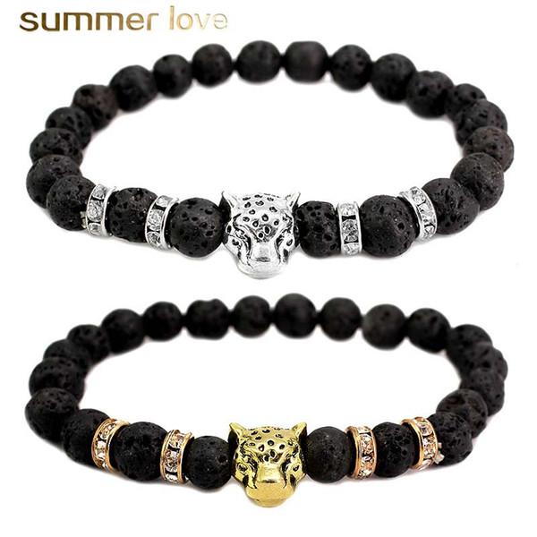 2018 Handmade 8MM Natural Stone Leopard Beads Bracelet for Women Men Healing Lava Stone Elastic Bracelet Fashion Jewelry Gift