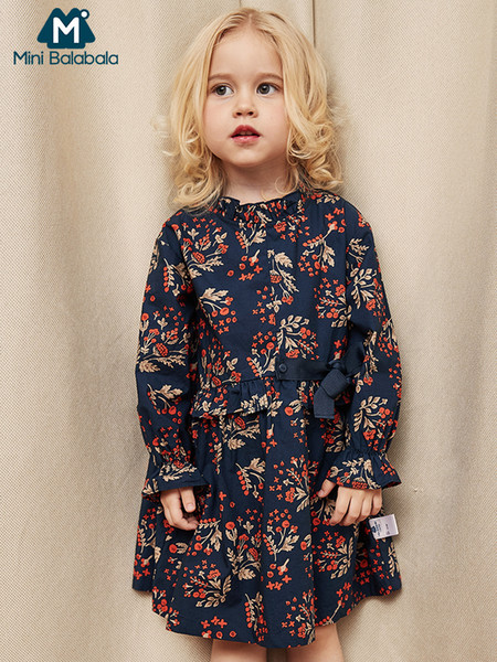 Minibalabala Crianças Meninas Floral Impresso Vestido Com Flounce Detalhe Da Menina Da Criança Manga Longa Vestidos Com Gravata Crianças Roupas J190615