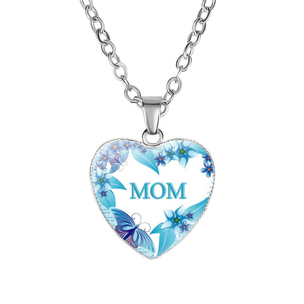 Love You MOM Necklace Glass Heart Shape Necklace Pendants Best Mom Ever Fashion Jewelry Mother Gift Will and Sandy drop ship