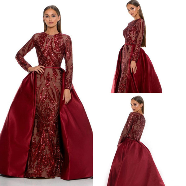 Burgundy Lace Sequins Mermaid Prom Formal Dresses with Detachable Train Long Sleeve Navy Blue Arabic Dubai Evening Wear Gowns