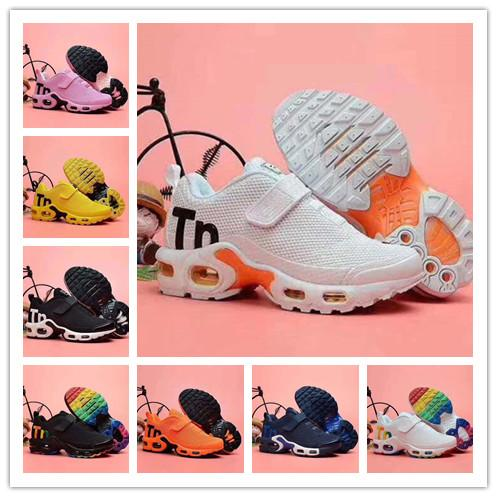 2019 горячие детские кроссовки Tn Air серый белый черный детская спортивная обувь малыша дизайнерская обувь плюс радуга мальчик девочка Tns кроссовки