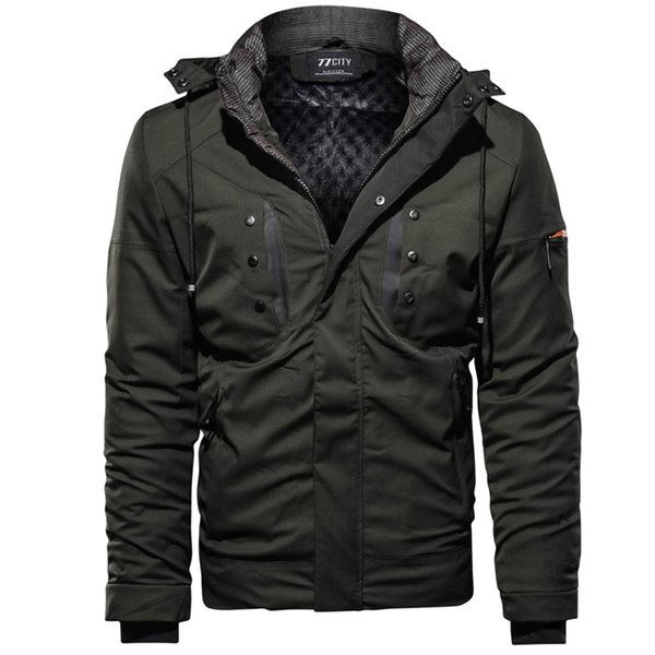 Autumn Winter Coat Mens Jackets And Coats Outwear Warm Windproof Hood Men Jacket Casual Multi-pocket Parkas Men Quilted Jacket