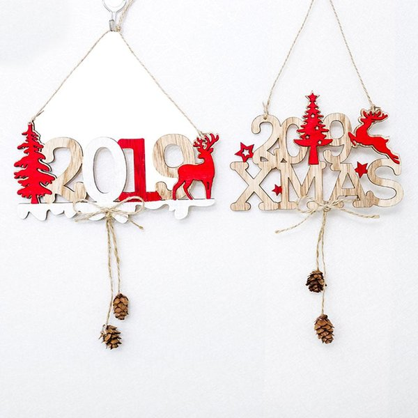 Hanging Christmas Ornaments Wooden Xmas Tree Elk Number Letters Home Decoration