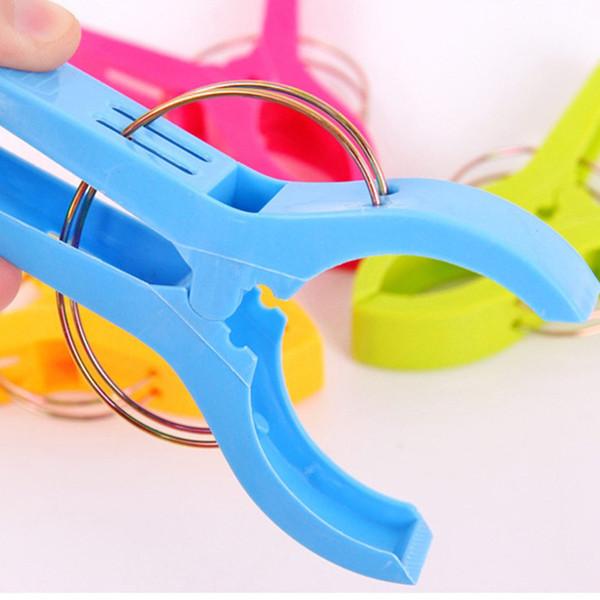 4pcs Stronging plastique Clips couleur Serviette de plage pince pour empêcher le vent vêtements serrage Pegs Séchoirs Clip de rétention
