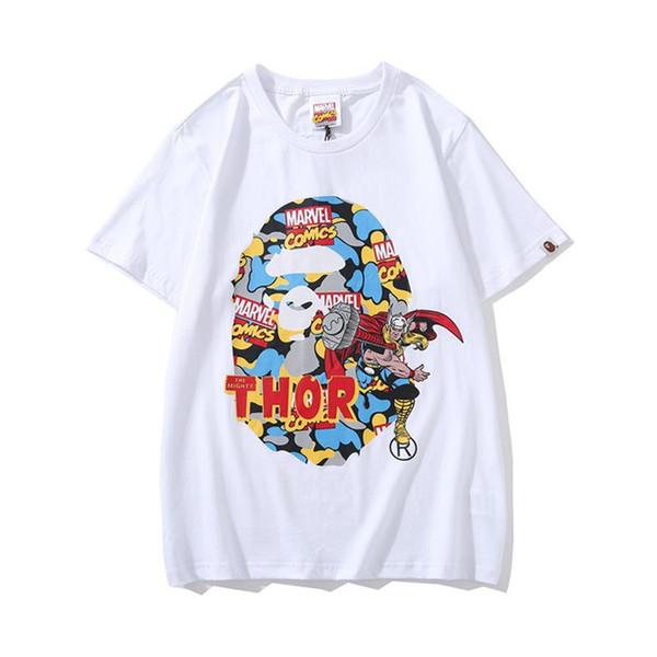 Casual de manga curta em torno do pescoço Casual camisetas APE desenhos animados Impresso T-shirt 2019 novo luxo de um homem de banho bonitas Homens Mulheres baratos