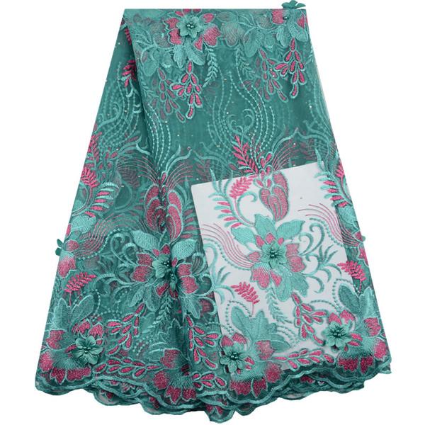 Fiore Nigeria del tessuto del pizzo 3D del ricamo di qualità superiore di Tulle con i branelli Tessuti africani verdi del pizzo per il vestito da partito di sera S1475