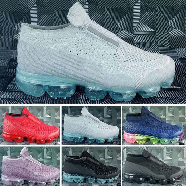 Nike air max Laceless 2018 Platinum Kids zapatillas gris blanco Rainbow Infant Children Marca Calzado deportivo entrenador de niños grandes niño y niña zapatillas de deporte