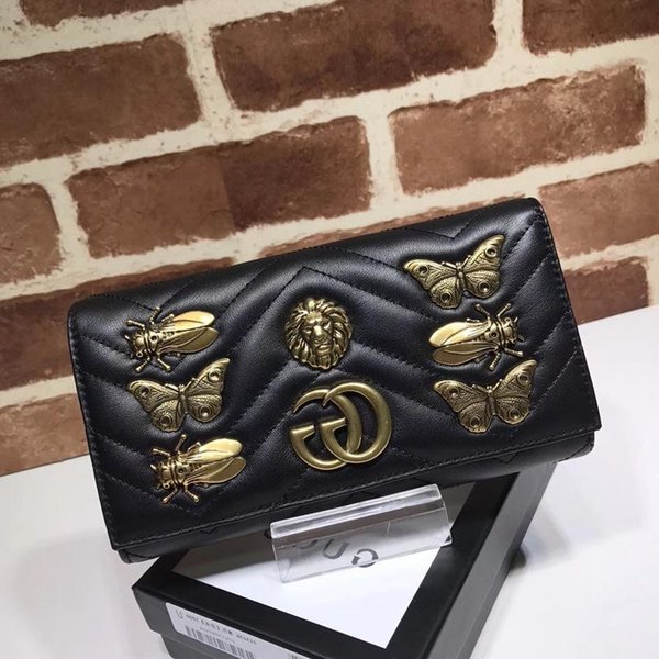 Top Quality Luxury Celebrity Design Letter Metal Buckle Butterfly Insect Purse V-shaped Two Fold Wallet Cowhide Leather 443436 Clutch