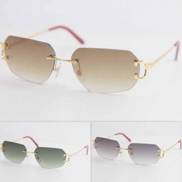 top popular 2020 Metal Popular new Style Rimless Sunglasses Men Women with C Decoration Wire Frame Unisex Eyewear for Summer Outdoor Traveling 2021